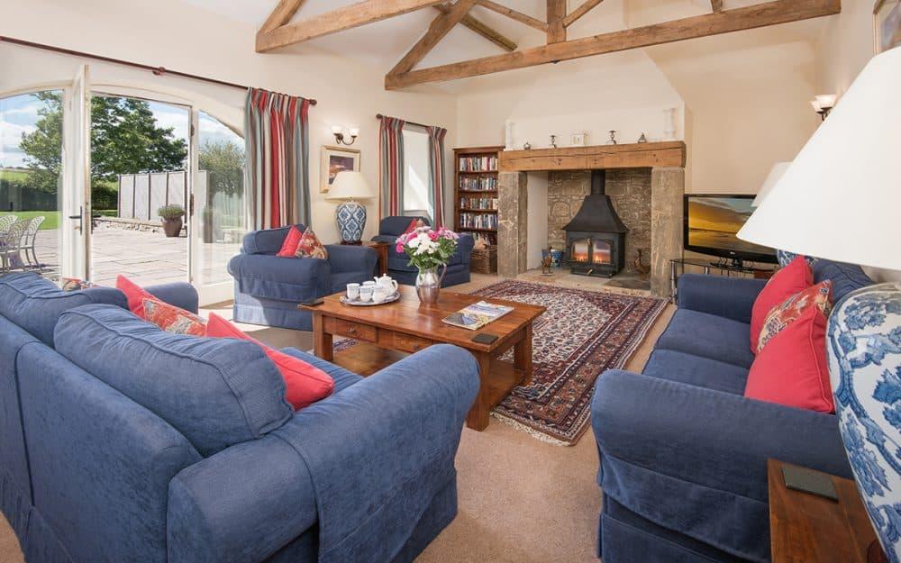 Exposed Beams in Luxury Living Room